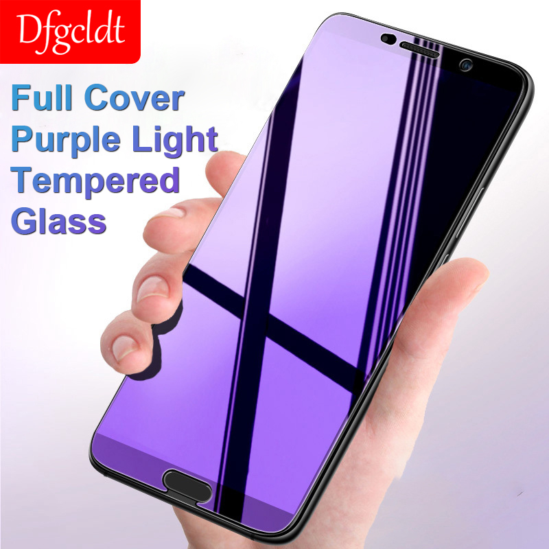 Purple Light Tempered Glass For Huawei Mate 20 10 P30 20 Lite Full Cover Screen Protector For Huawei Y6 Y9 P Smart 2019 Film