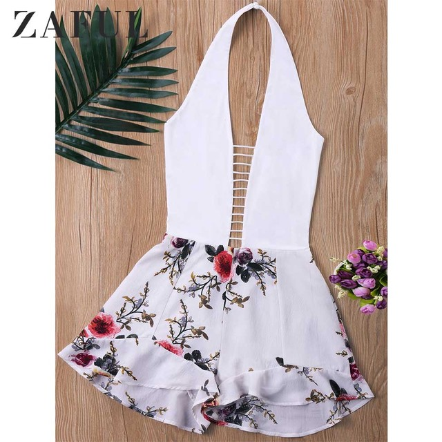 ZAFUL Ladder Low Cut Halter Romper Women Jumpsuit Summer Mini Overalls White Top With Floral Pattern Shorts Playsuit Rompers