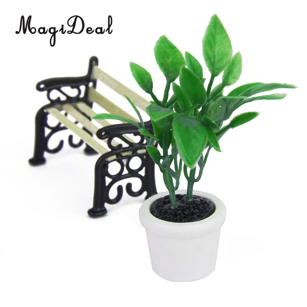 MagiDeal High Sale 1/12 Scale Green Plant In White Pot Dollhouse Miniature For Office Kitchen Garden Acc Children Role Play Game