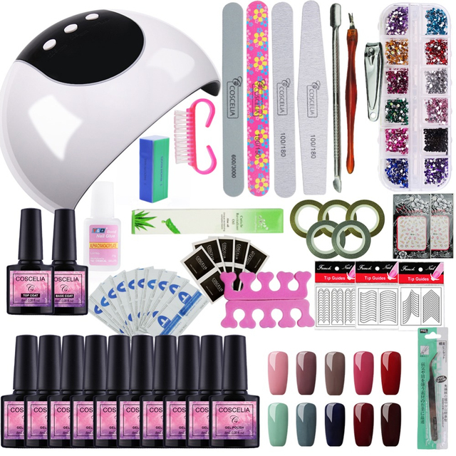 24W Lamp For Nail 10 Color UV Gel Nail Polish Kit Manicure Machine Art Tools Set Top Base lacquer Varnish Semi Permanant Uv Lamp