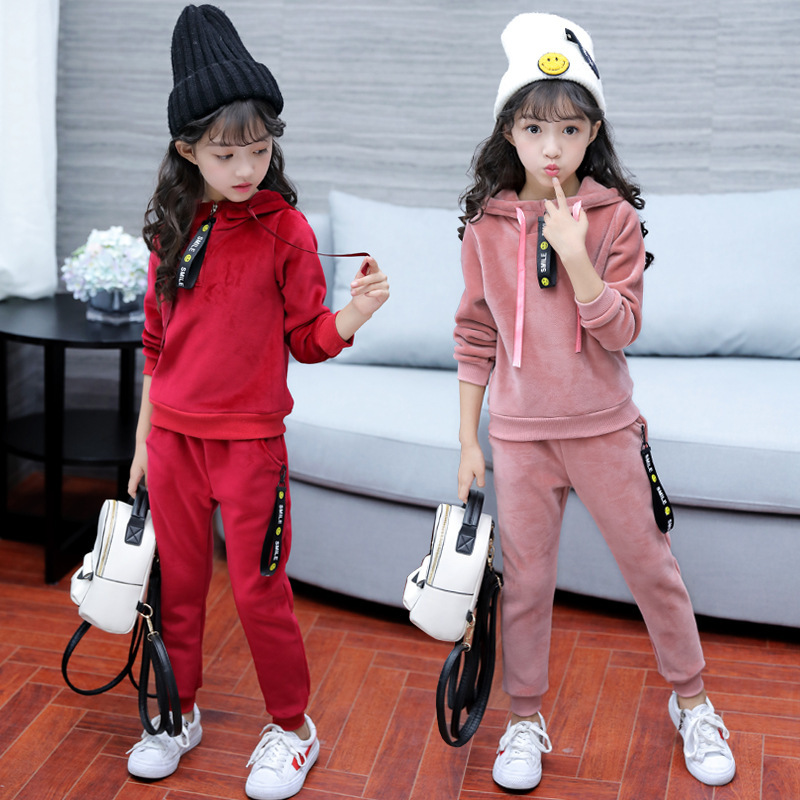 Fashion Velvet Girls clothing Sets Autumn Winter Casual Kids Sports Suit Sweatshirt +Pant Tracksuit For Girls autumn winter girls children sets clothing long sleeve o neck pullover cartoon dog sweater short pant suit sets for cute girls
