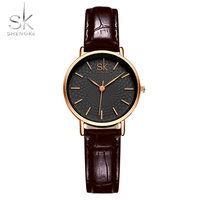 SK Women Dress Wrist Watches Red Black Leather Watchband Luxury Golden Dial Female Style Clock Ladies