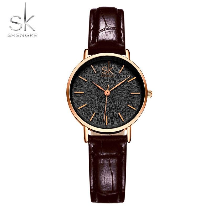 SK Women Dress Wrist Watches Red Black Leather Watchband Luxury Golden Dial Female Style Clock Ladies New Wristwatch 2017 нож кухонный supra sk tk17st black