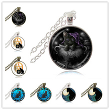 Wicca Cat Necklace Pentagram Pendant Pentacle Jewelry Kitten Animal Witch Jewellery Five-pointed Star Sweater Necklace Accessory