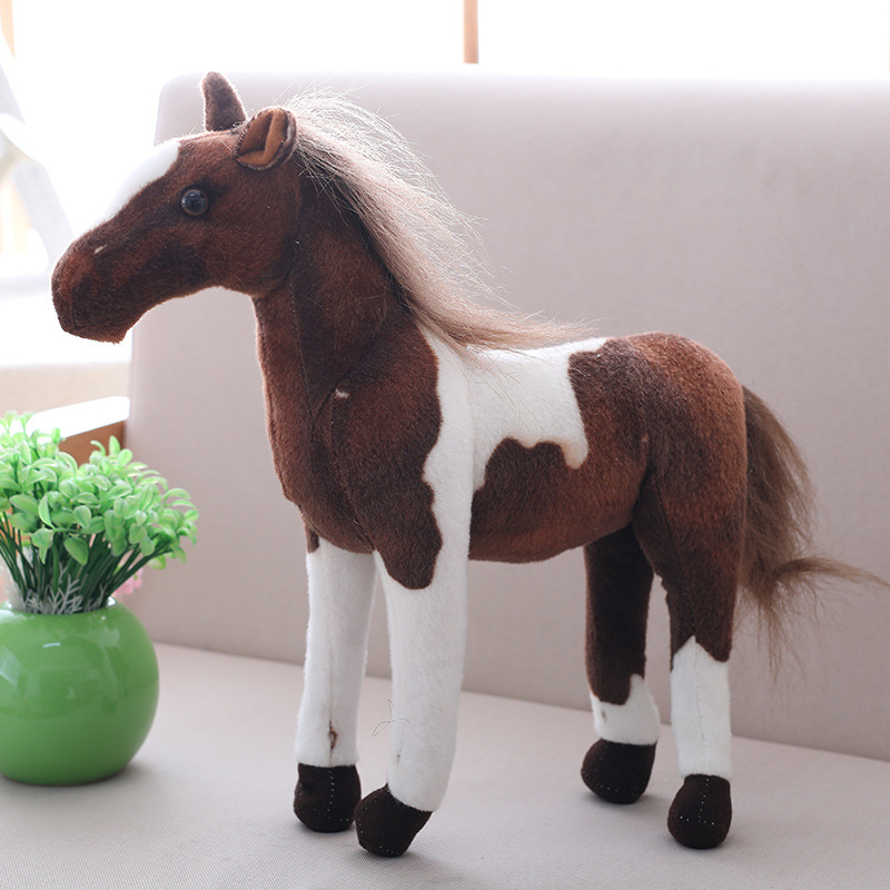30cm Simulation Animal Horse Plush Toy Prone Doll For Childrens Birthday Gift