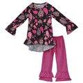 Cair a roupa do bebê inverno de algodão boutique da criança meninas roupas vintage 2 pcs calça crianças conjuntos de roupas de primavera 2017 para crianças f089