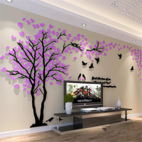 1Pcs 250x130cm 3D Texture Acrylic Tree TV setting Wall Decal Living Room Trees For Walls Stickers Warmth Home decor Wall Decal