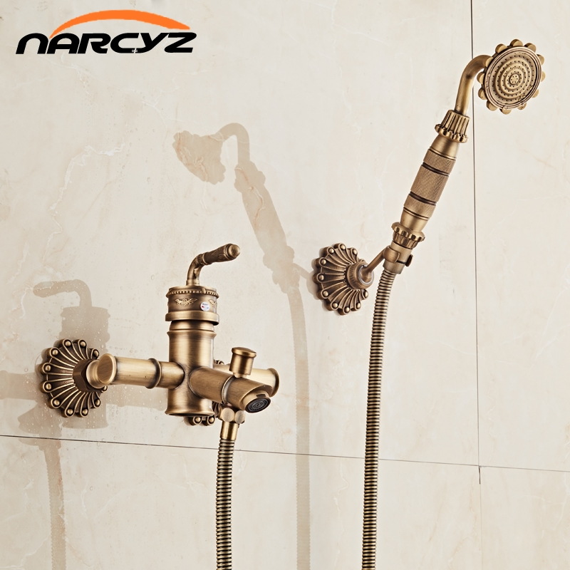 Free Shipping Bamboo Shower Faucet Mixer Tap Antique Bronze Brass Bath Shower Faucet Set Bathtub Faucet Torneira Bath XT333