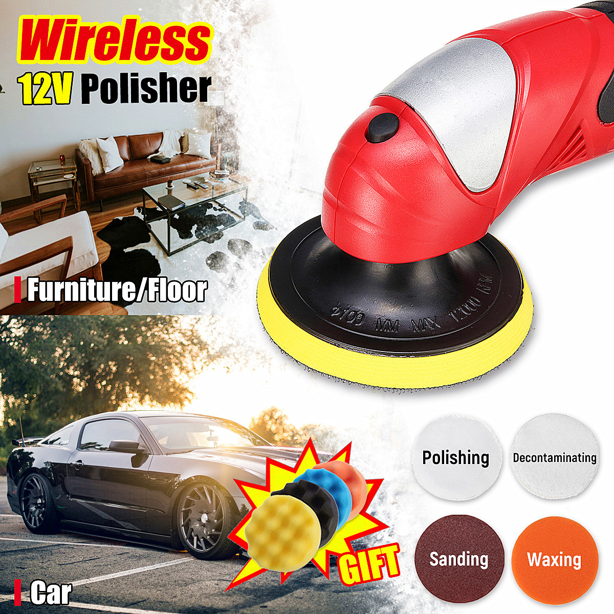цена на 3000 RPM Compact Polisher Angle Grinder Sander Polishing Buffing For Car Furniture Floor Waxing Sanding Decontaminating