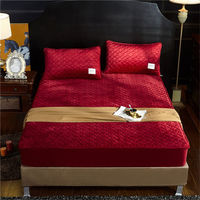 Quilted Elastic Fitted Sheet Crystal Velvet Pure Color Thicken Bed Sheets Qn Elastic Band Luxury Bed Cover Red Wine Bedspread