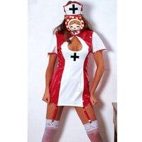 نوعية الكبار إمرأة مثير أحمر أبيض جلد مكتب اللباس 2017 ممرضة موحدة صنم اللاتكس بأمتصاص الغريبة خادمة زي