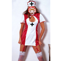 Quality Adult Women Sexy Red White Leather Latex Hollow Out Exotic Dress 2017 Nurse Uniform Fetish Office Maid Costume