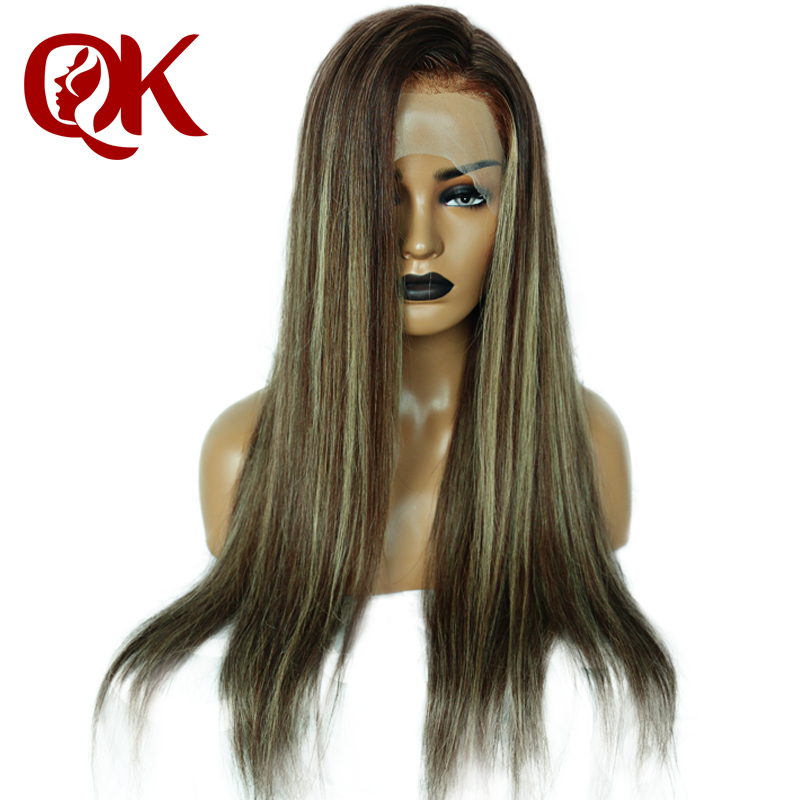 QueenKing hair Front Lace Wig 180 Density Cami Color Balayage Ombre Wigs T4 4 24 Brazilian