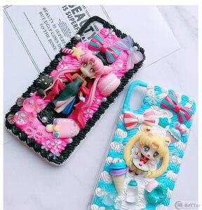 Image 5 - Pour Samsung S9/10 plus + étui bricolage note8/note9 3D marin lune couverture de téléphone Galaxy s8/s9 + s6/s7 bord à la main crémeux étui fille cadeaux
