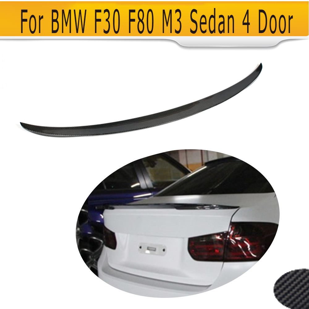 3 series Carbon Fiber Car Rear boot Lip Trunk Spoiler For BMW F30 F80 M3 Sedan 4 Door 12-17 320i 328i 330i 335i 340i P Style carbon fiber rear spoiler trunk boot lip wing for bmw 3 series f30 320i 325i 328i 335i sedan 4 door 2013 2016 car tuning parts