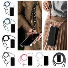 Mobile Phone Case With Rope Tpu Transparent Four-corner Anti