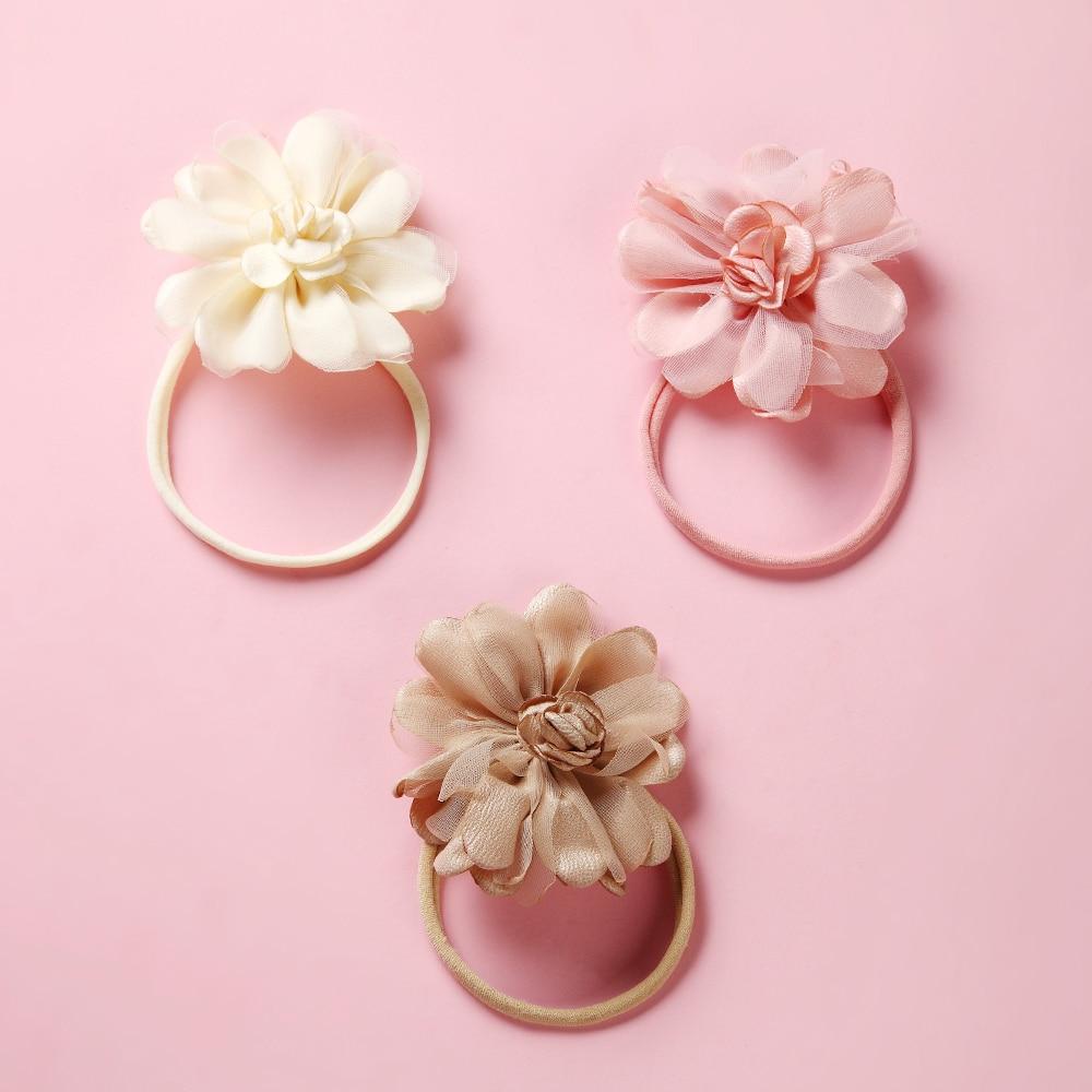 MengNa 36pcs lot Newborn Girls Chiffon Flower Nylon Headbands Children Kids Silk Flower on Skinny Thin