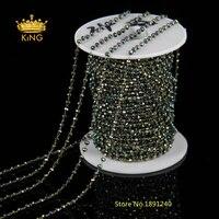 5 Mètres 2x3mm Petit Petites Perles Chaîne, Vert Brun AB Couleur Verre Perles Chapelet Lien Chaîne Charms Trouver pour le Collier Faisant HX085