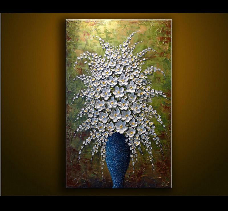 Modern Stylish Living Room Flowers Buy Hand Painted Canvas Art Painting Palette Knife Blue Vase