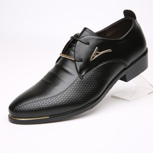 30% OFF Brand Men Shoes Leather Lace-up Pointed Toe Breathable Wedding Business Oxfords Casual Men's Shoes for Male
