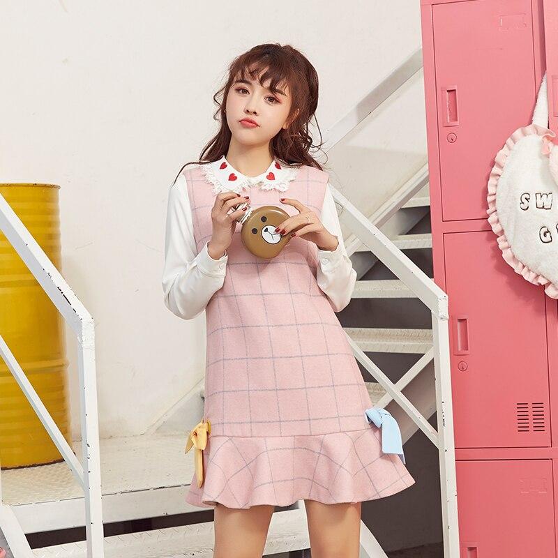 Принцесса сладкий платье в стиле «Лолита» Cat Венеция галстук-бабочка в виде листка лотоса плед сладкий колледжа ветер показать тонкие и шер...