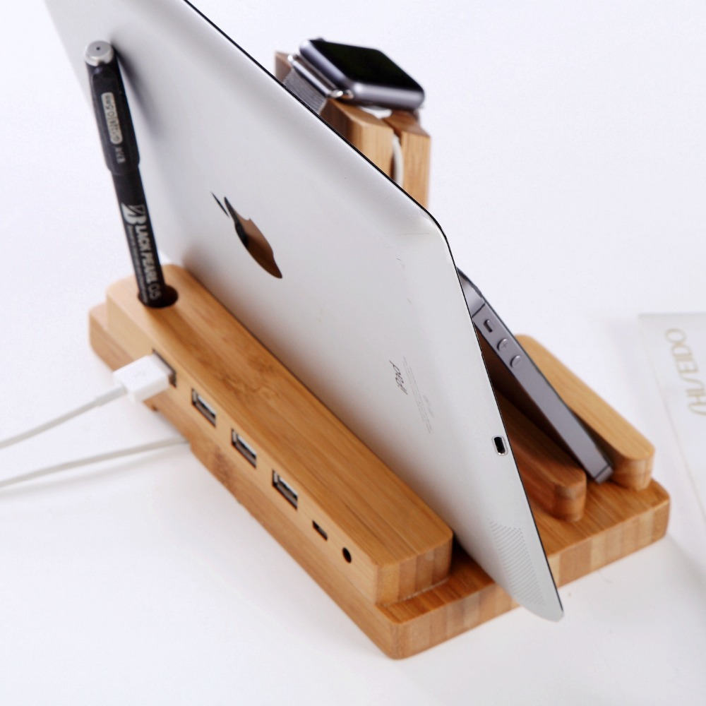 Bamboo Wooden 4 in 1 For Apple Watch USB 4 Port Micro HUB Charging Stand Station