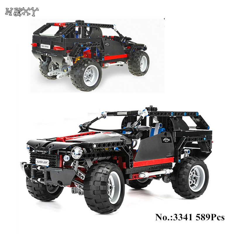 IN STOCK H&HXY 3341 589pcs Transport Cruiser SUV Racing Car Model Building Block Sets Educational DIY Bricks Toys DIY decool 3341 high tech transport cruiser suv racing car model 589pcs set building block sets kit toys for kids christmas gifts