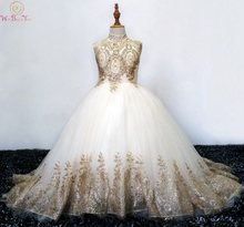 2019 Ball Gown Long Flower Girl Dresses For Wedding High Neck Gold Appliques Girls First Communion Gowns Special Occasion Gowns цены онлайн