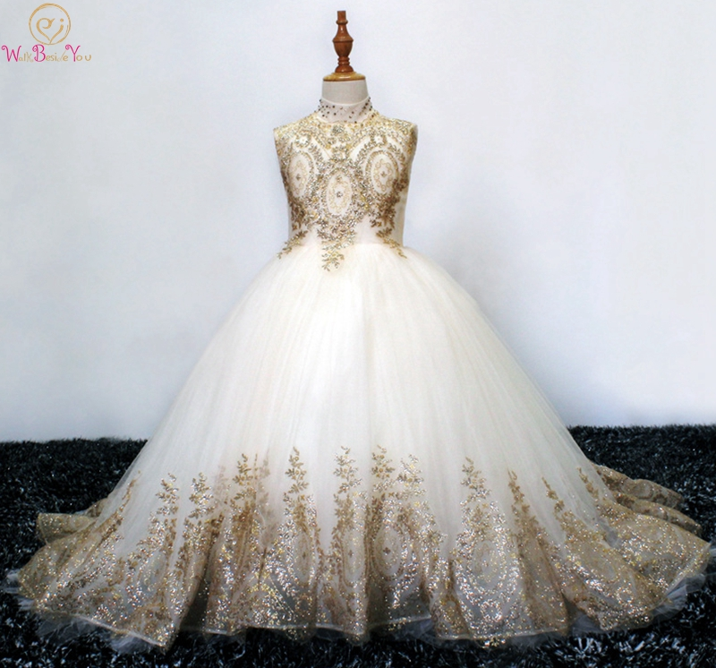 2019 Ball Gown Long   Flower     Girl     Dresses   For Wedding High Neck Gold Appliques   Girls   First Communion Gowns Special Occasion Gowns