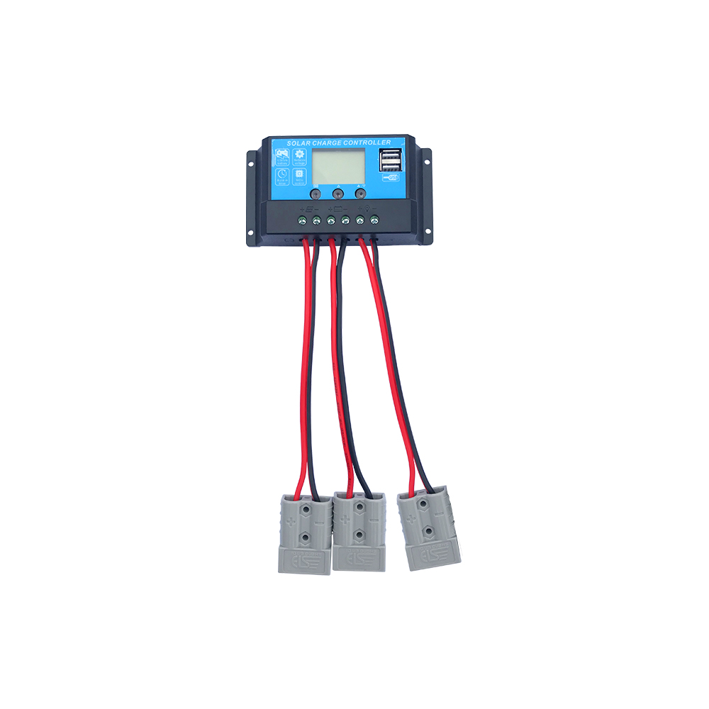 12V 24V 10A Controller Auto Solar Charge Controller PWM Controllers LCD Dual USB 5V Output Solar Panel Car Power Connector Doubl