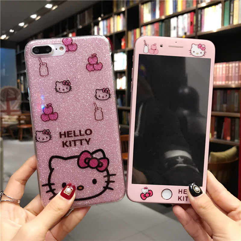 For iPhone 6 Hello Kitty Cute Cartoon Phone Case for iPhone X XS Max XR Strap Hard Cover For iPhone 8 7 6 6s 5 5s SE  KT Film