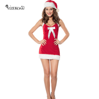 2018 Shot Christmas Dress Adult Holiday Helper Costume Sexy Party Suit Christmas Santa Fantasy Mini Dress Sexy Costume LC7156