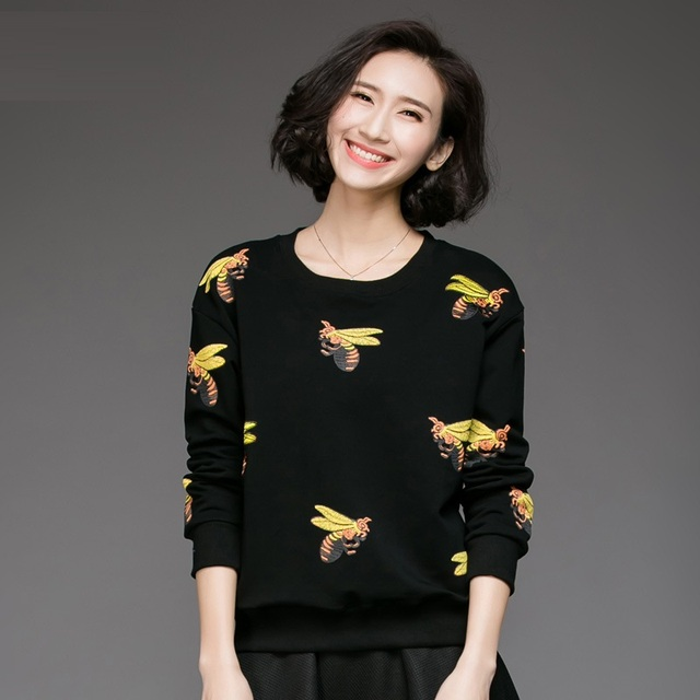 Free ship 2017 Spring Fashion female juniors cute t shirt bee printed long  sleeves casual tops tee plus size clothing XXXXXL1243-in T-Shirts from