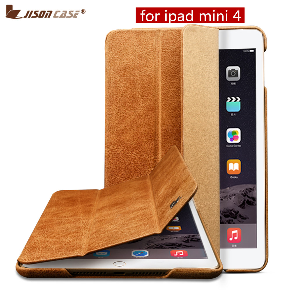 Jisoncase Smart Cover Case for iPad mini 4 Case Genuine Leather Luxury Brand Magnetic Auto Wake Cover for iPad mini 4 7.9 Funda protective abs silicone bumper case for ipad mini retina ipad mini purple transparent