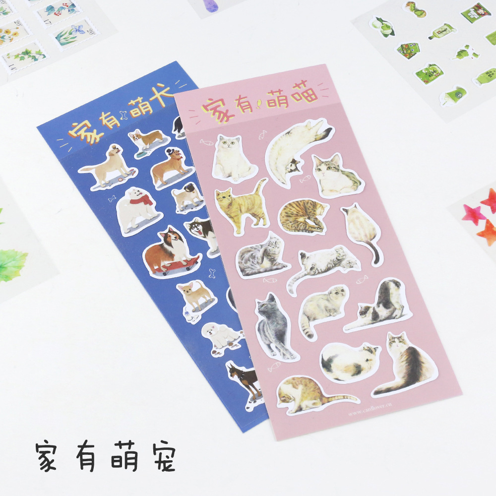 все цены на New 2 Style Kawaii Cute Mini Cat And Dog Pvc Transparent Korean Stickers Papers Flakes Kids Decorative For Cards Stationery