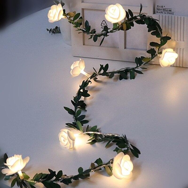 10/20/40leds Rosa flor guirnaldas de luces LED alimentado por batería boda Día de San Valentín evento Fiesta guirnalda decoración Luminaria