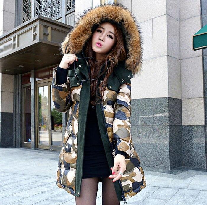 2014 New Winter Jacket Girls Long Down Jacket Women'S Slim Genuine Extra Large Raccoon Fur Camouflage Outerwear Coats 5XL H3379