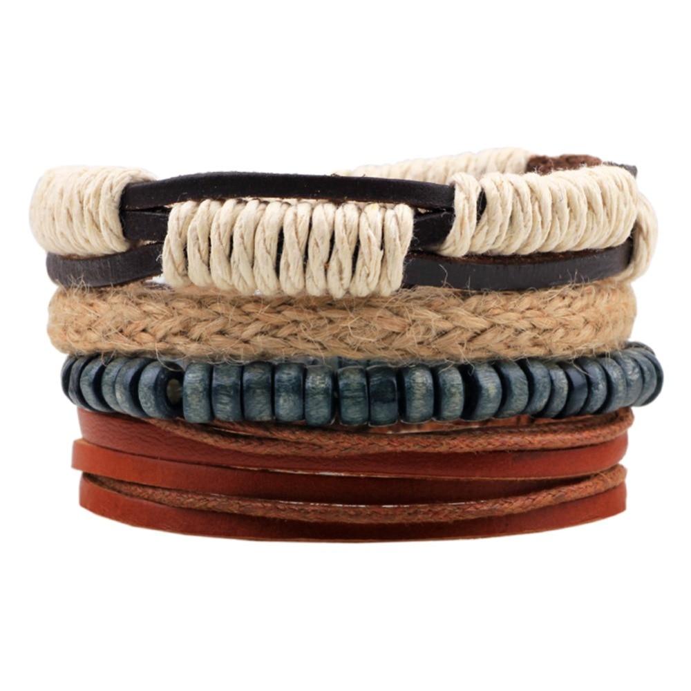 Druzy Fashion Vintage Male Handmade Leather Bracelet Bangle Boho Wood Bead Friendship Braslet Man Wrist Band Pulseira Masculina
