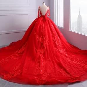 Image 4 - Miaoduo ontwerp Rode Trouwjurken Scoop Baljurk Kant Applicaties Parels Vestido De Novias Prinses Kathedraal Trein High end nieuwe