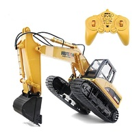 1550 15CH 2.4G 1/14 RC Crawler Kit 15 Channel Metal Excavator Charging RC Car With Battery RC Alloy Excavator RTR For Kids