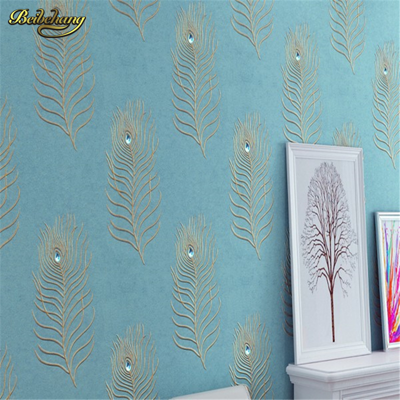 beibehang 3D Diamond For Bedroom Background Wall paper Wall World High Quality Peacock Blue Feathers Wallpaper Embroidery beibehang peacock deep blue feather 3d