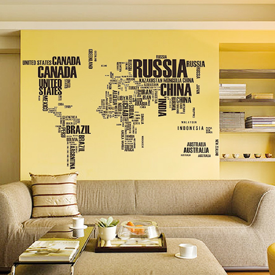 2016 New Promotion High Quatity Wall Sticker World Map Atlas Art ...
