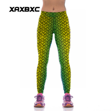 NEW KYK1042 Sexy Girl Women Mermaid Fish Scale 3D Prints High Waist Polyester Fitness Leggings Pants Plus Size