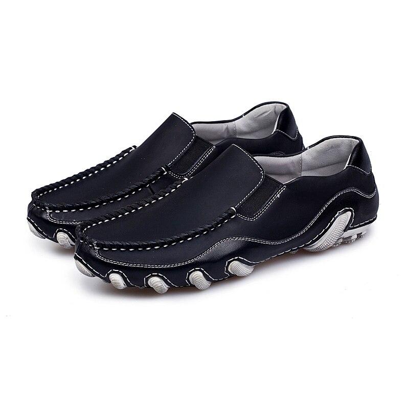 Marche white Marque Mocassins Plein Homme Hommes Sneakers Sur Blanc Glissement Chaussures Black En Noir Les Doux Mode Cuir Casual Mâle Air xvSBqR