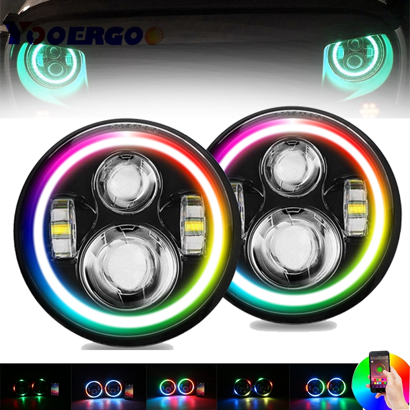 For Lada 4x4 urban Niva 7inch Headlamp Full Function RGB Halo Angel Eyes LED Headlight for Jeep JK LJ Accessories