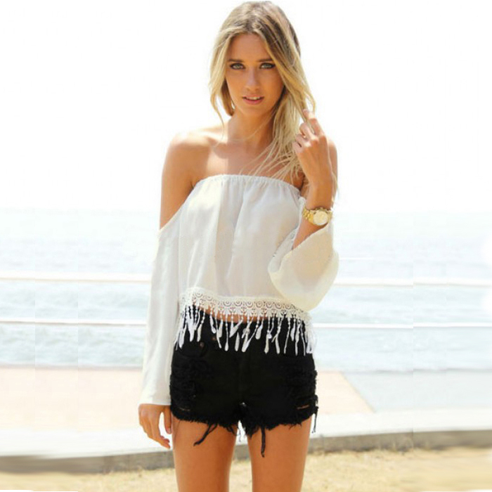 Buy sexy women strapless crop top lace fringe tassel tops cropped white shirts - Haut sexy femme ...