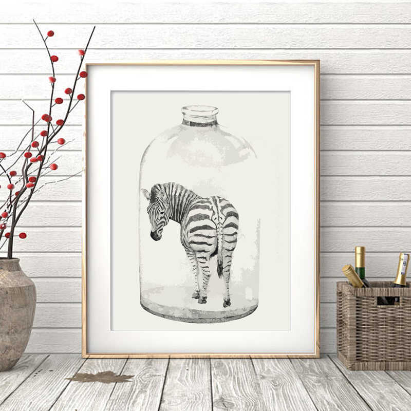 Abstract Zebra in Bottles Art Print Painting Poster, Wall Pictures For Home Decoration, Hogar decor
