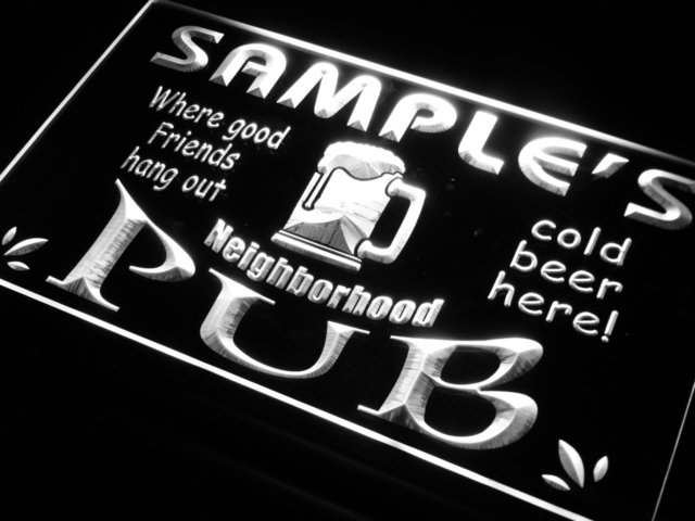 pg-tm Name Personalized Custom Neighborhood Pub Bar Beer LED Neon Sign with On/Off Switch 7 Colors 4 Sizes