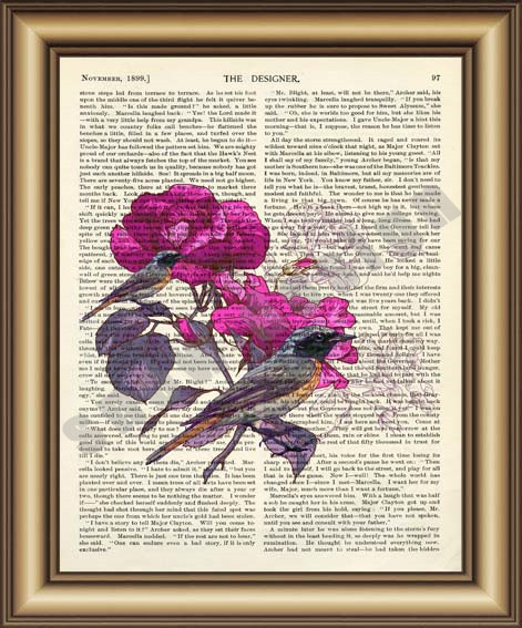 Birds Flower Dictionary Canvas Painting Wall Art Print Poster Pictures Home Decoration Vintage Book Page Decor Gifts In Calligraphy
