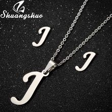 Shuangshuo Silver Necklace Jewelry Sets For Women Stainless Steel Pendant Letter Necklaces Stud Earrings Weeding Jewelry Set(China)